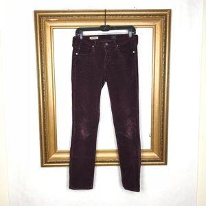 AG Adriano Goldschmied purple corduroy skinny jean